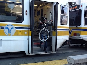 SacRT light rail steep steps for bicyclist