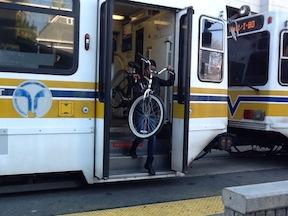 SacRT light rail steep steps for bicyclist