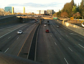 I-5 separating Old Town from downtown Sacramento