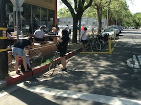 bike corral and overload at Insight Coffee