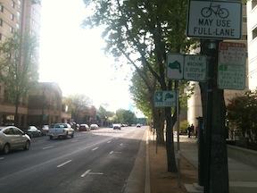 I Street floating bike lane during parking prohibition