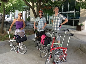 Bromptons at the summit, including Cynthia Rose of Santa Monica Spoke