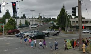 children crossing, Fauntleroy at Alaska, West Seattle (Seattle Bike Blog)