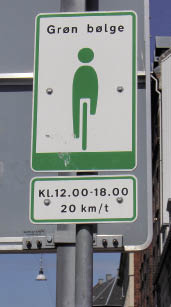 green wave sign, Copenhagen (Cambridge Cycling Campaign)