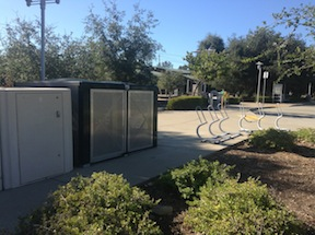 bike lockers at SacRT light rail Glenn station in Folsom