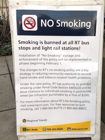 SacRT no smoking sign