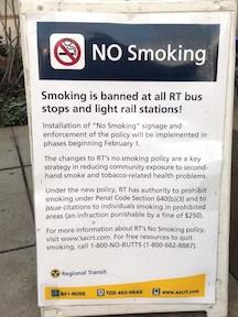 SacRT no smoking sign