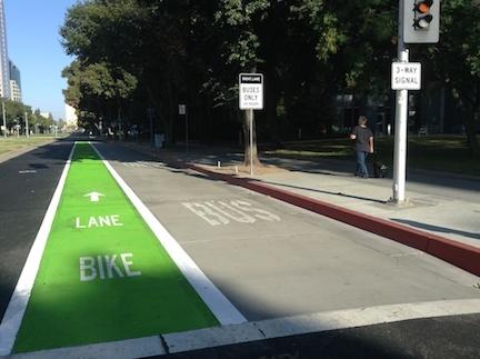 dedicated bus lane, Capitol Mall, Sacramento