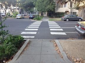 N Street, nice crosswalk, rude drivers