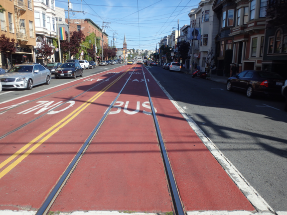 red transit-only lanes in San Francisco