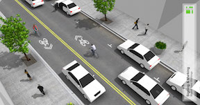 shared lane markings adjacent to curb (left side); NACTO Urban Bikeway Design Guide