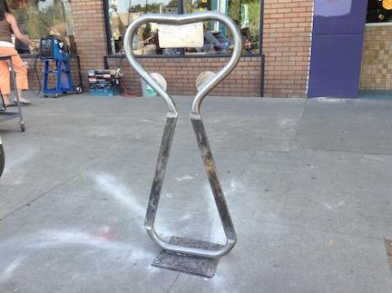 art bike rack at New Helvetia Brewing