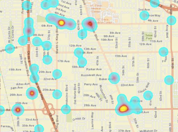pedestrian collisions, killed or severe injury, south Sacramento