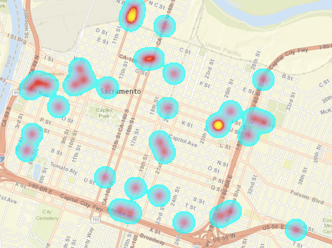 bicyclist collisions, City of Sacramento downtown/midtown, killed or severe injury, heat map
