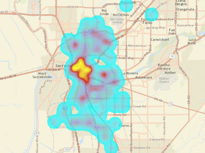 bicyclist collisions, City of Sacramento, killed or severe injury, heat map
