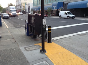 Pedestrian beg button on a commonly used crosswalk (9th St at K St), this location should have a pedestrian signal on every cycle, not just when someone presses the button.