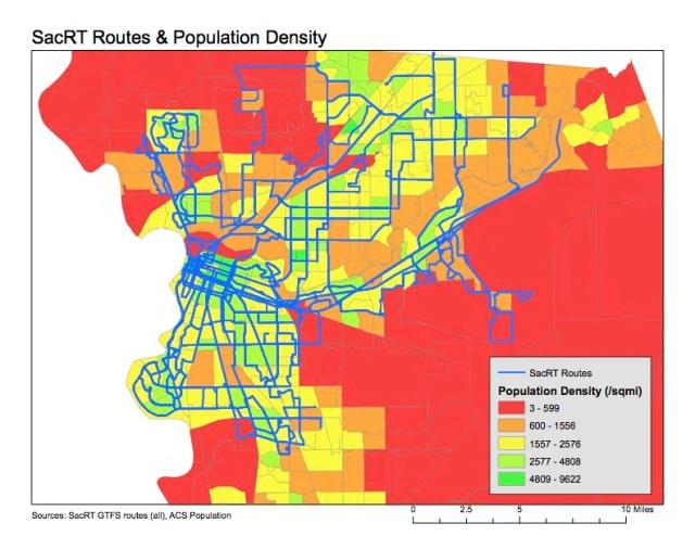 SacRT routes & population density
