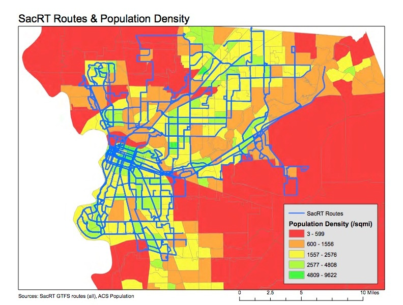 SacRT routes & population density