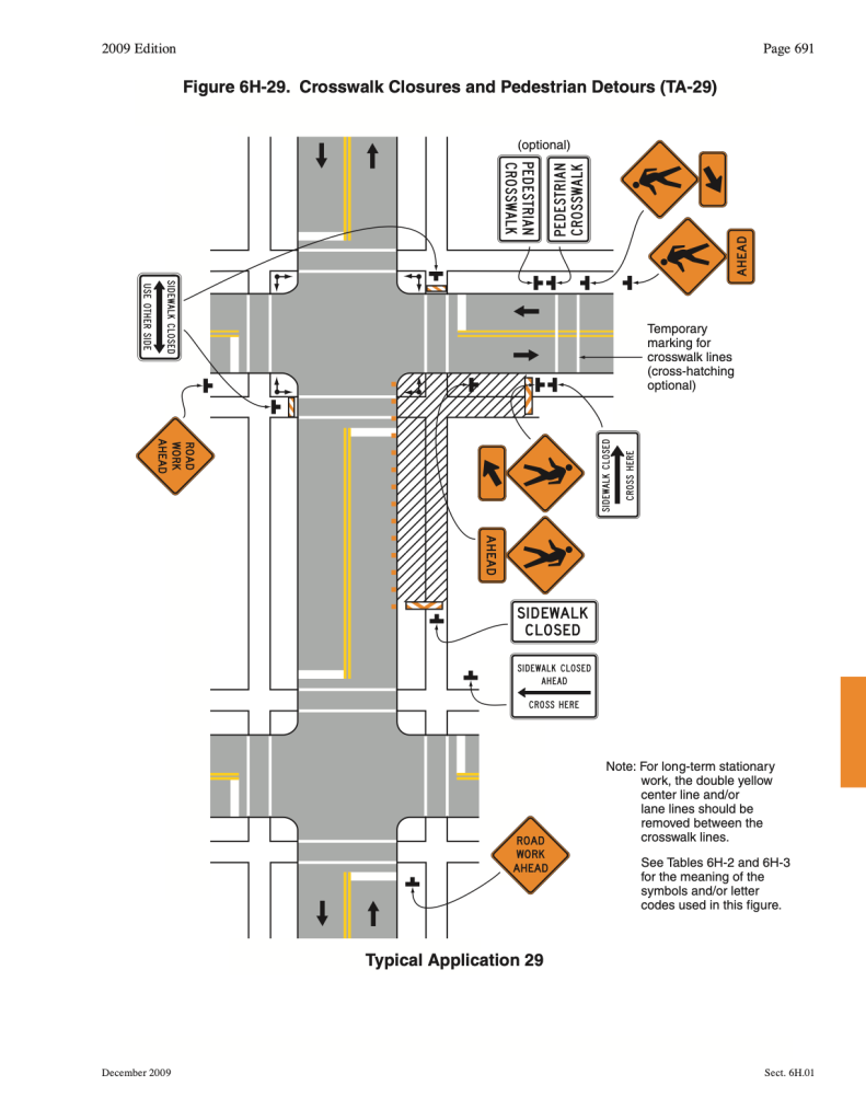 MUTCD 6H-29: crosswalk closures and pedestrian detours